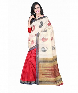 White Color Bhagalpuri silk saree with blouse piece @ Rs494.00