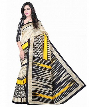 Beige Color Bhagalpuri silk saree with blouse piece@ Rs.494.00