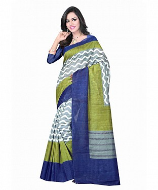 Green Color Bhagalpuri silk saree with blouse piece@ Rs.494.00
