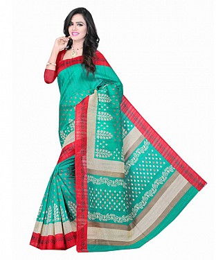 Green Color Bhagalpuri silk saree with blouse piece @ Rs494.00