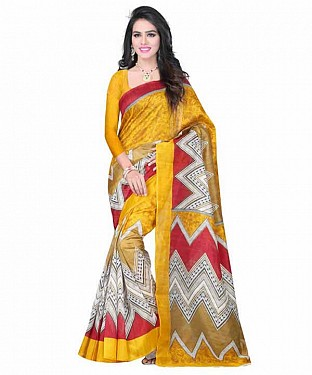 Yellow Color Bhagalpuri silk saree with blouse piece@ Rs.494.00