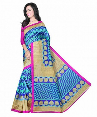 Blue Color Bhagalpuri silk saree with blouse piece@ Rs.494.00