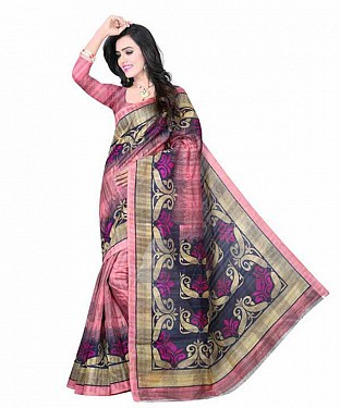 Pink Color Bhagalpuri silk saree with blouse piece @ Rs494.00