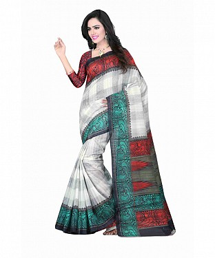White Color Bhagalpuri silk saree with blouse piece@ Rs.494.00