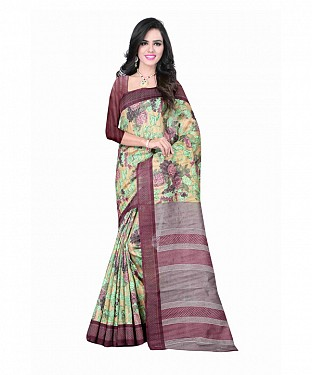 Multi Color Bhagalpuri silk saree with blouse piece@ Rs.494.00