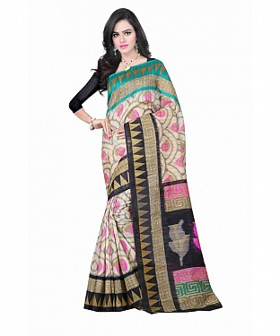 Multi Color Bhagalpuri silk saree with blouse piece @ Rs494.00