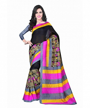 Black Color Bhagalpuri silk saree with blouse piece @ Rs494.00