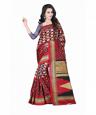 Red Color Bhagalpuri silk saree with blouse piece@ Rs.494.00