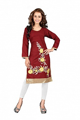 Embroidered Maroon Partywear Designer Kurti @ Rs569.00