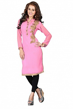 Embroidered Pink Partywear Designer Kurti @ Rs513.00