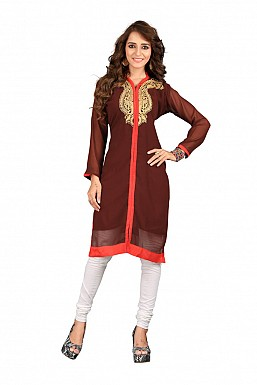 Embroidered Maroon Casual Designer Kurti @ Rs569.00