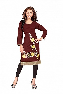 Embroidered Maroon Casual Kurti @ Rs569.00