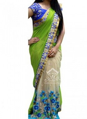 Green & Blue Fancy Georgette With Net Saree @ Rs2036.00