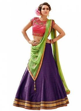 New Latest Purple And Pink Banglori Silk Lehegha Choli@ Rs.1235.00