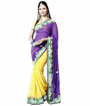 Yellow and Blue Chiffon Embroidered saree Buy Rs.841.00