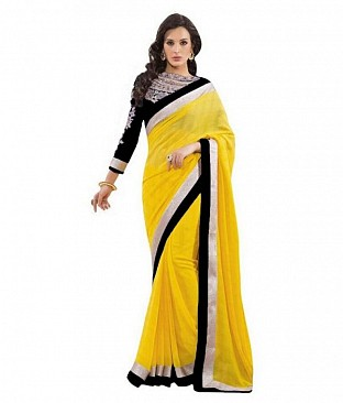 Embroidered Yellow Fashion Chiffon saree @ Rs518.00