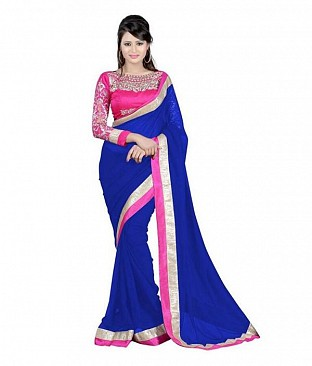 Embroidered Blue Chiffon saree@ Rs.518.00