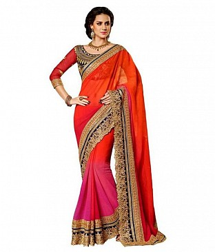Heavy Embroidred Chiffon Partywear Pink Saree @ Rs1199.00