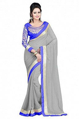Embroidered Grey Chiffon Saree @ Rs518.00