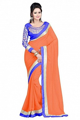 Embroidered Orange Chiffon saree@ Rs.518.00