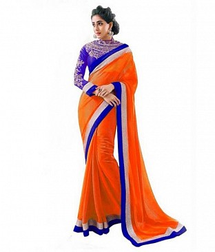 Embroidered Orange Chiffon saree @ Rs518.00