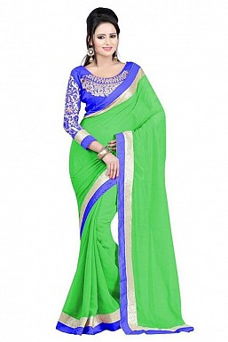 Embroidered Parrot color Chiffon saree @ Rs518.00