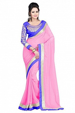Embroidered Chiffon Pink saree@ Rs.518.00