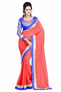 Embroidered Chiffon Orange saree@ Rs.518.00