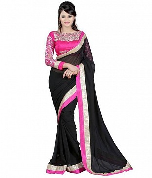 Embroidered Chiffon Black saree@ Rs.518.00