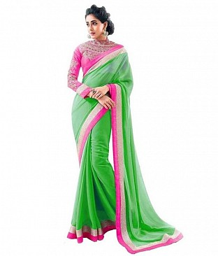Embroidered Chiffon Parrot Green saree @ Rs518.00