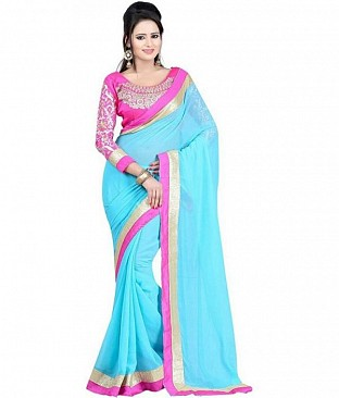 Embroidered Chiffon Turquoise saree @ Rs518.00