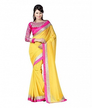 Embroidered Chiffon Yellow saree@ Rs.518.00