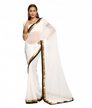 Plain Lace work white Georgette saree @ Rs494.00
