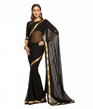 Plain Lace work Black Georgette saree @ Rs494.00