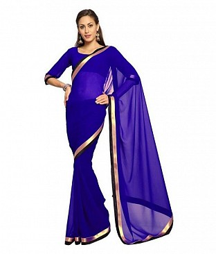 Plain Lace work Dark Blue Georgette saree @ Rs494.00