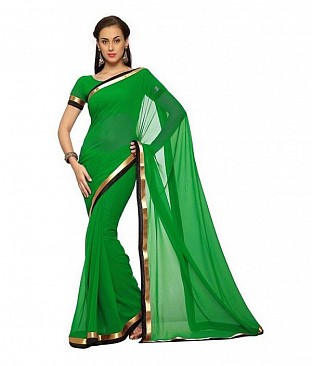 Plain Lace work Green Georgette saree @ Rs494.00