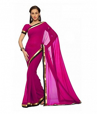 Plain Lace work Pink Georgette saree @ Rs494.00