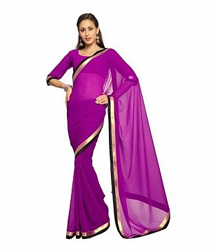 Plain Lace work Rani Georgette saree @ Rs494.00