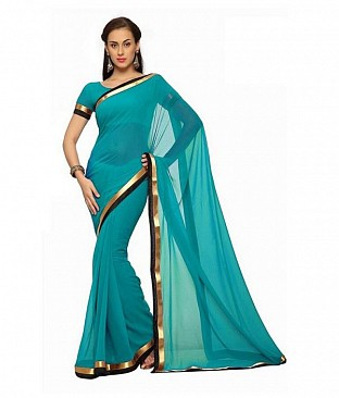Plain Lace work Turquoise Georgette saree @ Rs494.00
