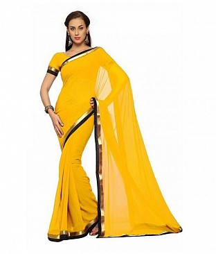 Plain Lace work Yellow Georgette saree @ Rs494.00