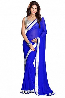 Chiffon Silver gota Blue saree @ Rs432.00