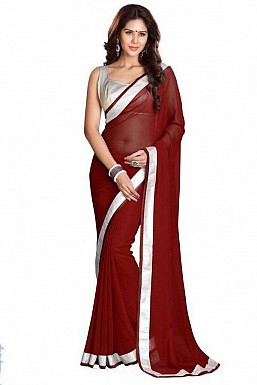 Chiffon Silver gota Maroon saree Buy Rs.432.00