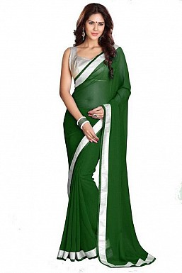 Chiffon Silver gota Green saree @ Rs432.00