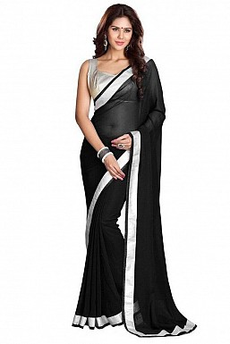 Chiffon Silver gota Black saree@ Rs.432.00