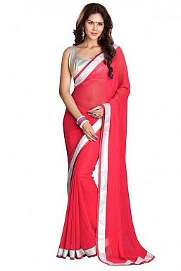 Chiffon Silver gota Light Pink saree @ Rs432.00