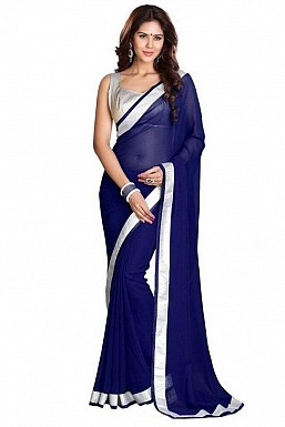 Chiffon Silver gota Dark Blue saree @ Rs432.00