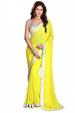 Chiffon Silver gota Yellow saree @ Rs432.00