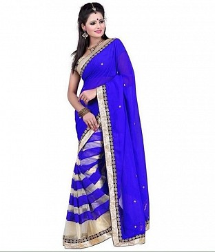 Chiffon Bollywood style Blue saree@ Rs.827.00