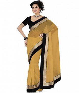 Lace work Beige Chiffon saree @ Rs432.00