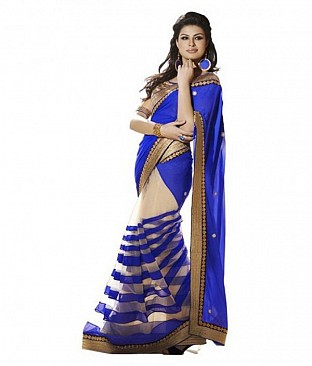 Chiffon Bollywood style Blue saree@ Rs.864.00